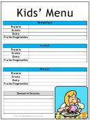 Kid Daily Menu Planner Template