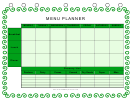 Menu Planner Template With Grocery List - Green