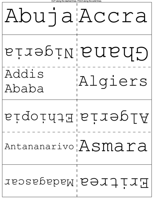 African Counties And Cities Flash Cards Printable pdf