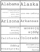 States And Flowers Flash Cards Template