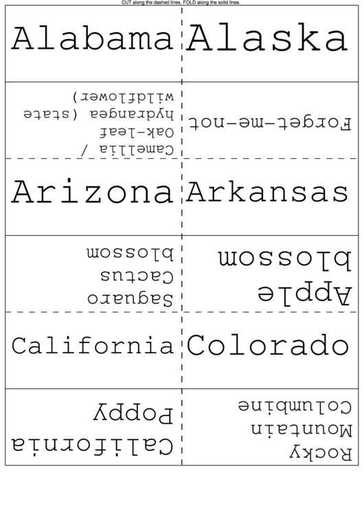 States And Flowers Flash Cards Template Printable pdf