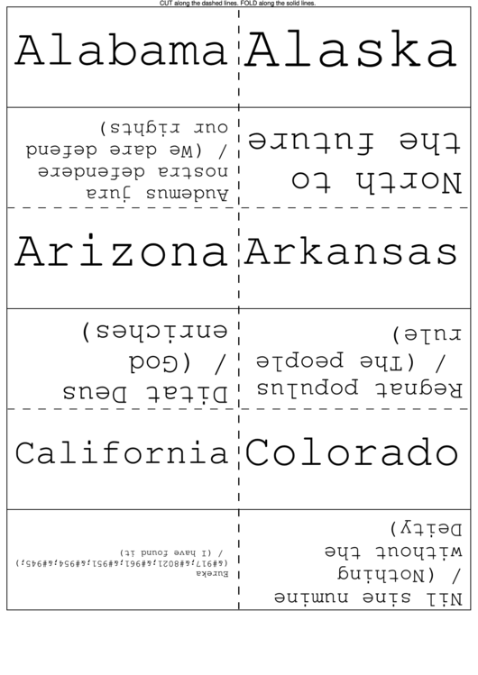 States And Slogans Flash Cards Printable pdf