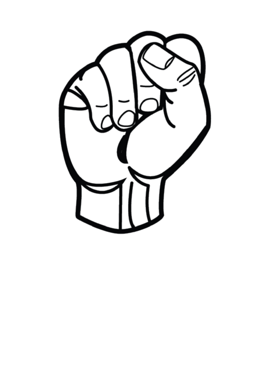 Letter S Sign Language Template - Outline-no Label