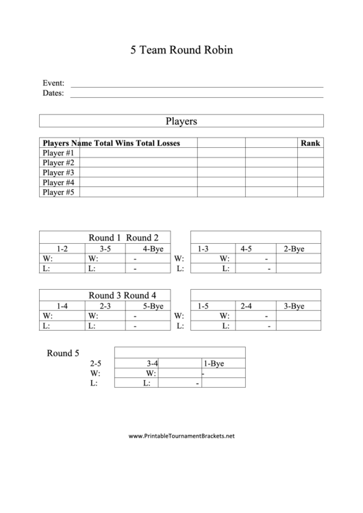 Top 9 Round Robin Tournament Templates free to download in PDF format