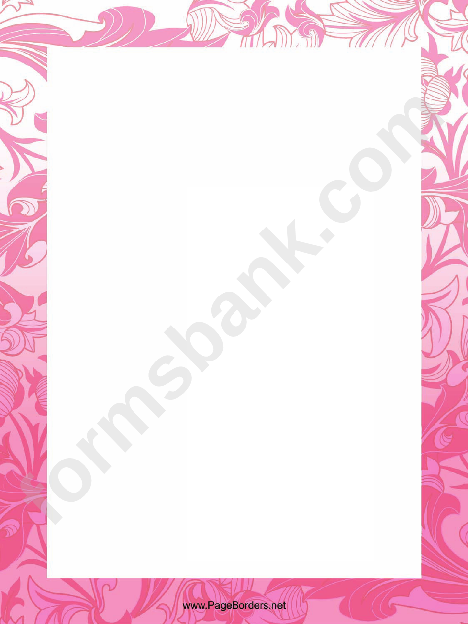 Pink Flowers Page Border Templates