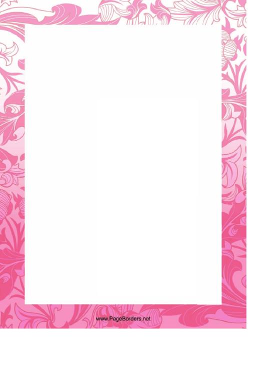 Pink Flowers Page Border Templates Printable pdf