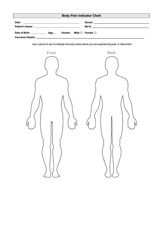 Body Pain Indicator Chart Printable pdf