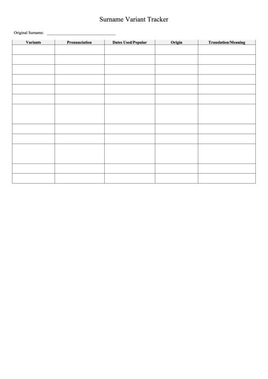 Surname Variant Tracker printable pdf download