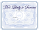 Most Likely To Succeed Certificate Template