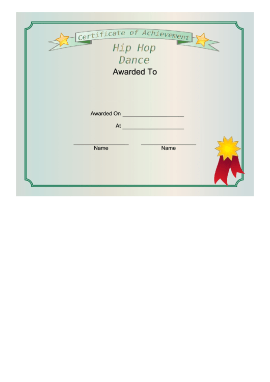 Top Dance Certificate Of Achievement Templates Free To Download In