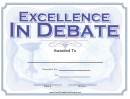 Excellence In Debate Certificate