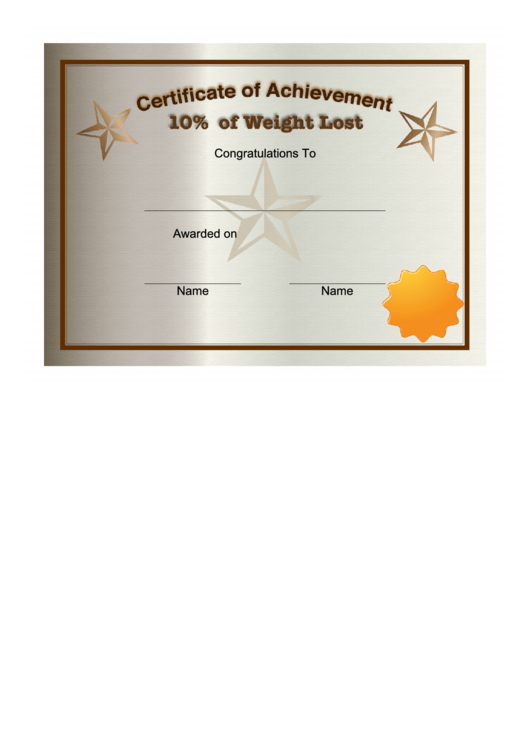 Weight Loss 10 Percent Certificate