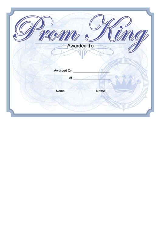 Prom King Certificate Printable Pdf Download