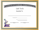 Lab Tech Academic Certificate