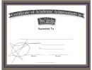 Pre-calculus Academic Certificate