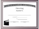 Directing Academic Certificate
