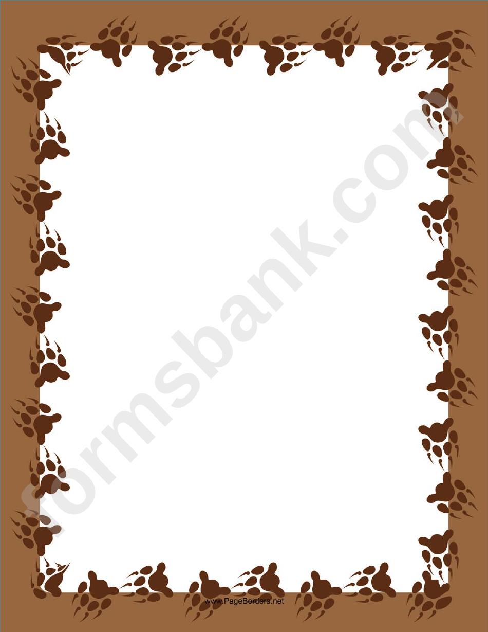 Brown Bear Paw Page Border Template Printable Pdf Download