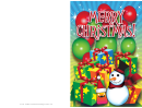Merry Christmas Snowman Card Template