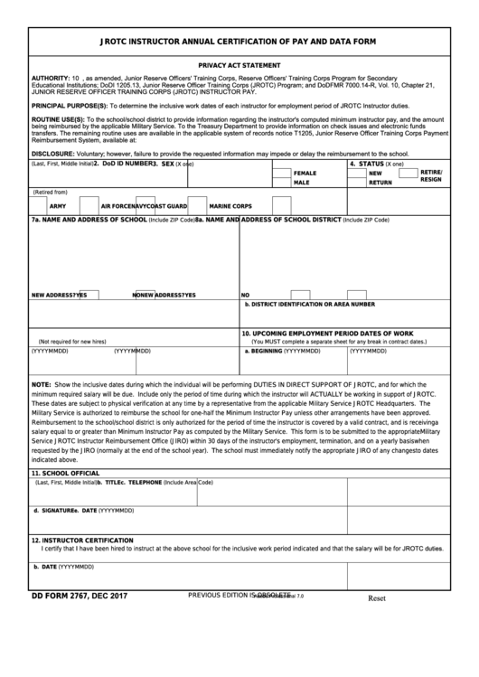 Dd Form 2767 - Jrotc Instructor Annual Certification Of Pay And Data Form Printable pdf