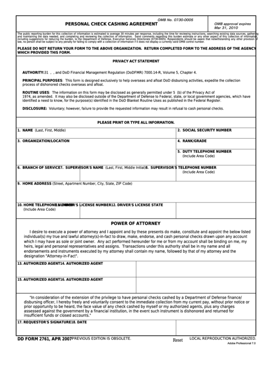 Fillable Dd Form 2761 - Personal Check Cashing Agreement Printable pdf