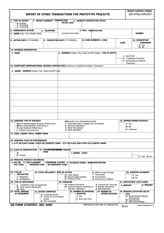 Fillable Dd Form 2759 - Report Of Other Transactions For Prototype Projects Printable pdf