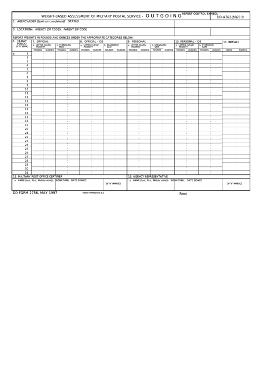 Fillable Dd Form 2756 - Weight-Based Assessment Of Military Postal Service - Outgoing Printable pdf