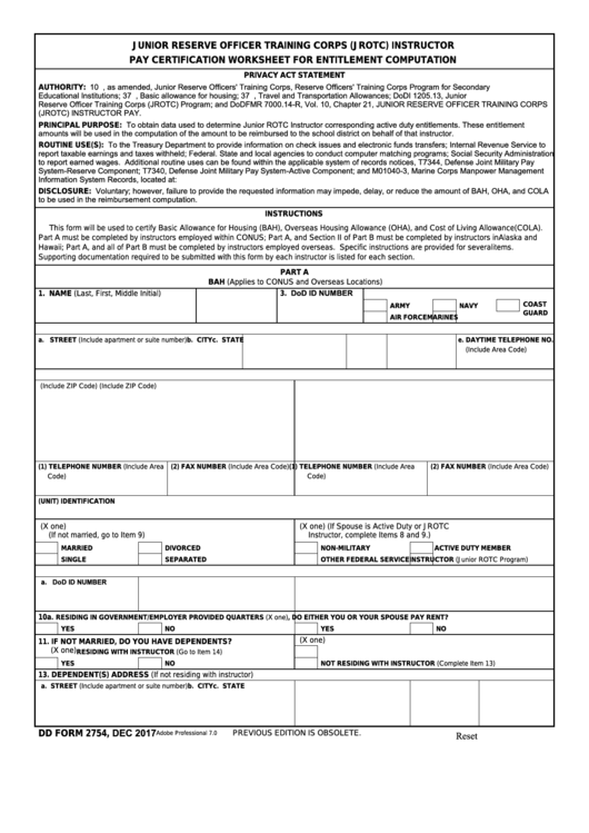 Dd Form 2754 - Jrotc Instructor Pay Certification Worksheet For Entitlement Computation Printable pdf