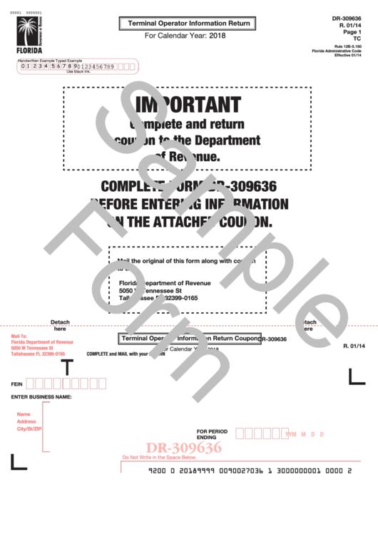 Form Dr-309636 Draft - Terminal Operator Information Return