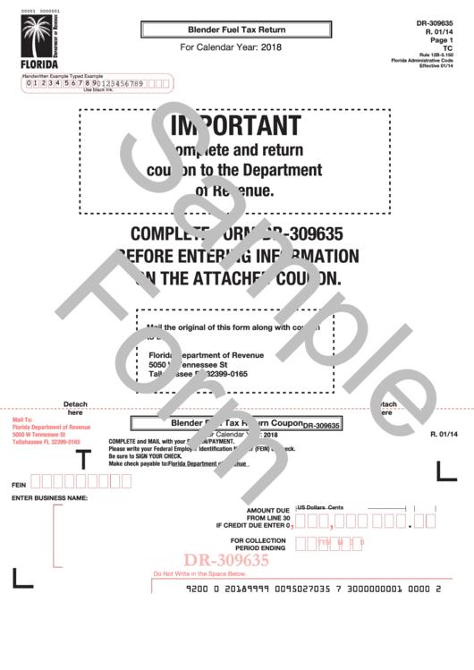 Form Dr-309635 Draft - Blender Fuel Tax Return - 2018