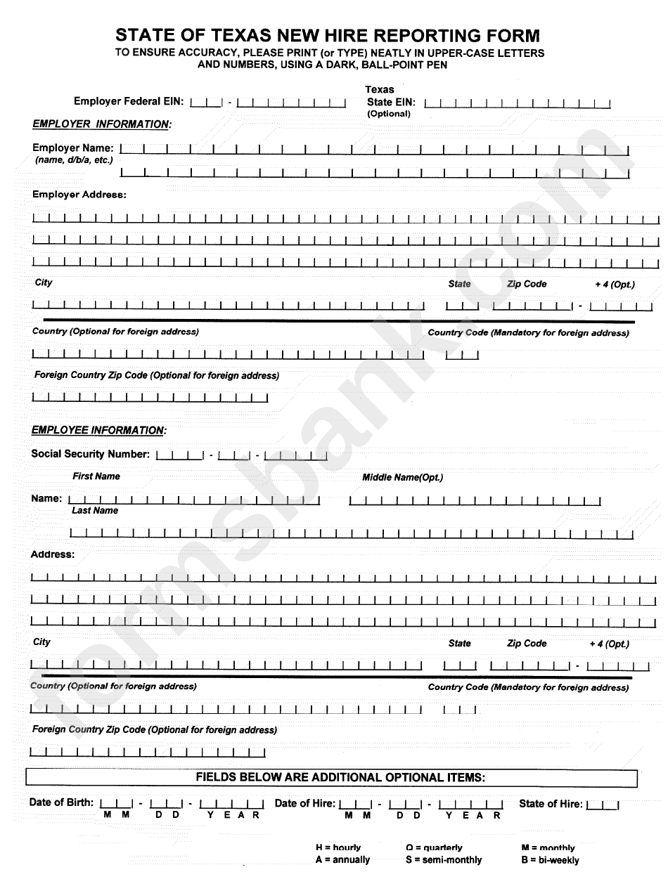State Of Texas New Hire Reporting Form Printable Pdf Download
