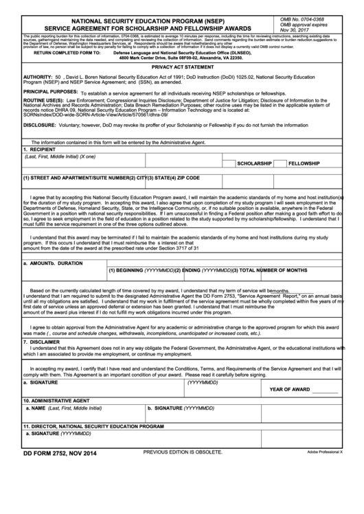Fillable Dd Form 2752 - Nsep Service Agreement For Scholarship And Fellowship Awards Printable pdf