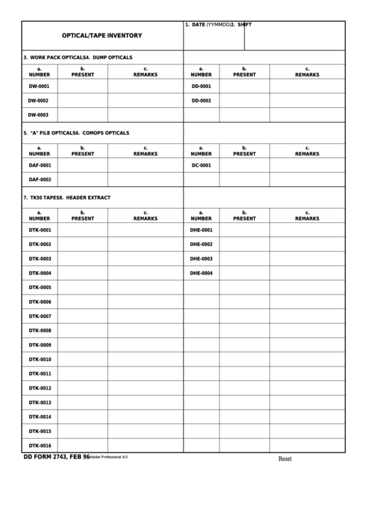 Fillable Dd Form 2743 - Optical/tape Inventory Printable pdf
