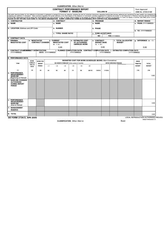 Fillable Dd Form 2734/3 - Contract Performance Report Format 3 - Baseline Printable pdf