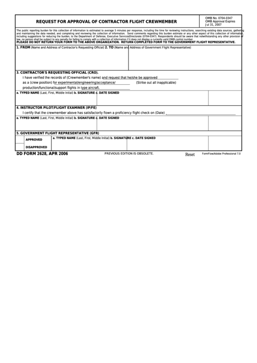 Fillable Dd Form 2628 - Request For Approval Of Contractor Flight Crewmember Printable pdf