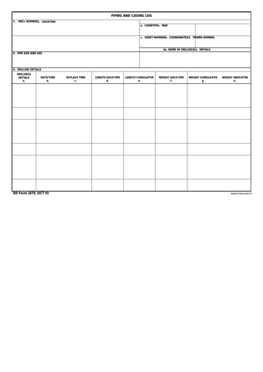 Fillable Dd Form 2679 - Piping And Casing Log Printable pdf