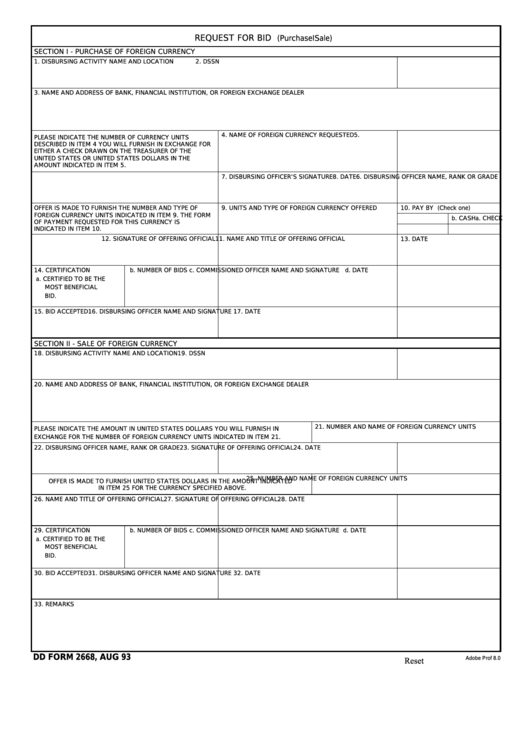 Fillable Dd Form 2668 - Request For Bid (Purchase Or Sale) Printable pdf
