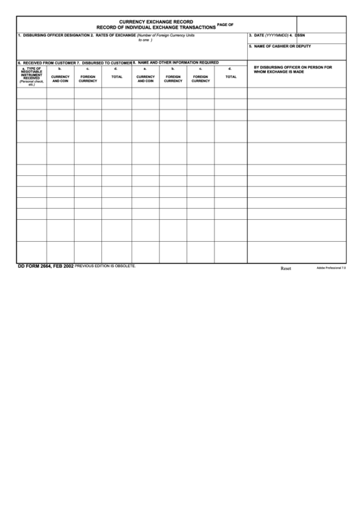 Fillable Dd Form 2664 - Currency Exchange Record - Record Of Individual Exchange Transactions Printable pdf