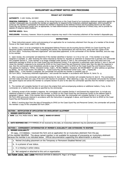 Fillable Dd Form 2654 - Involuntary Allotment Notice And Processing Printable pdf