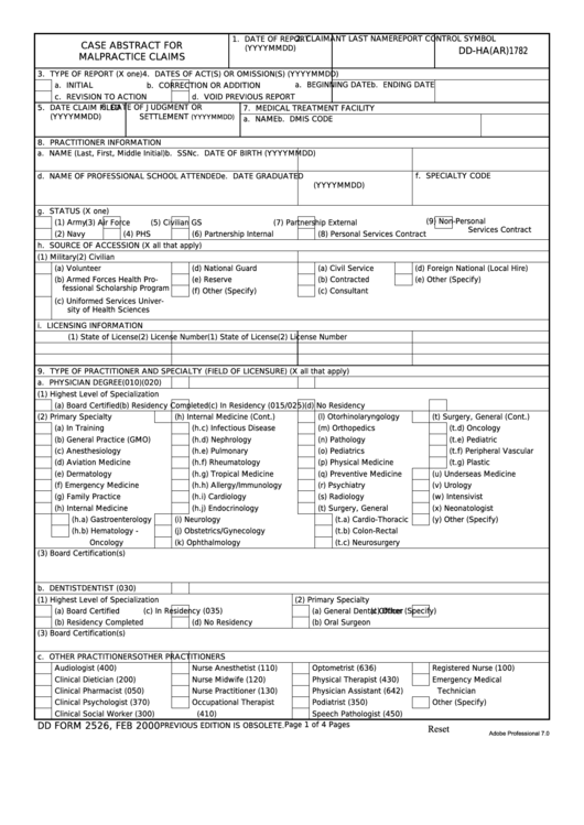 Fillable Dd Form 2526 - Case Abstract For Malpractice Claims Printable pdf