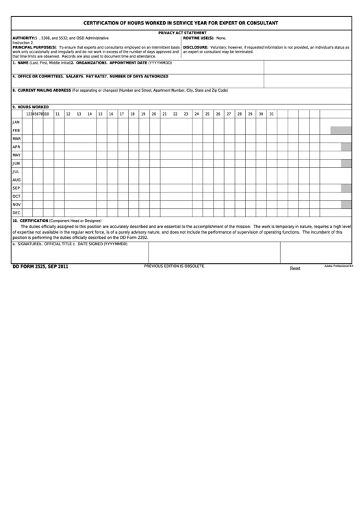 Fillable Dd Form 2525 - Certification Of Hours Worked In Service Year For Expert Or Consultant Printable pdf