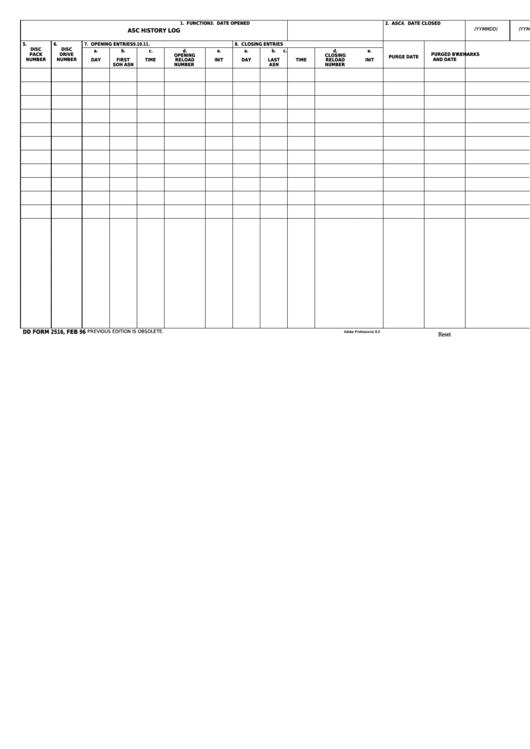 Fillable Dd Form 2516 - Asc History Log Printable pdf