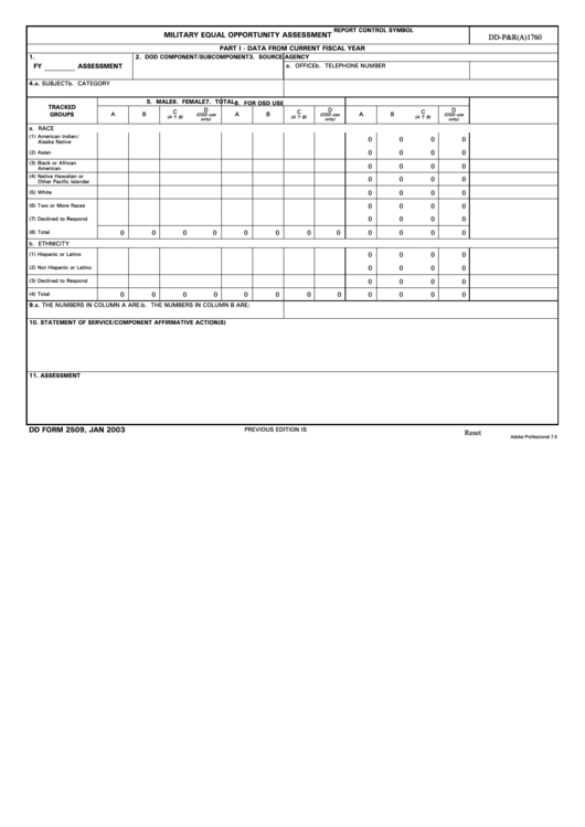 Fillable Dd Form 2509 - Military Equal Opportunity Assessment Printable pdf
