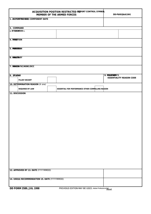 Fillable Dd Form 2589 - Acquisition Position Restricted To Member Of The Armed Forces Printable pdf