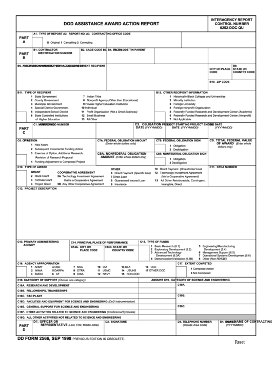 Fillable Dd Form 2566 - Dod Assistance Award Action Report Printable pdf