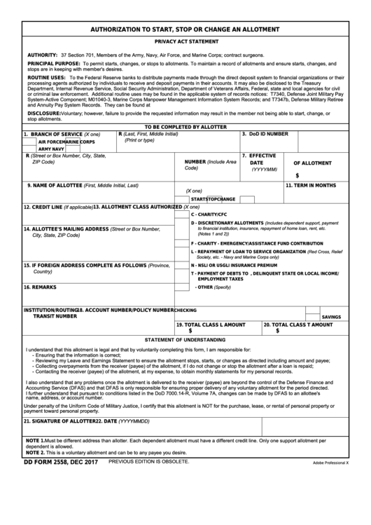 Dd Form 2558 - Authorization To Start, Stop Or Change An Allotment