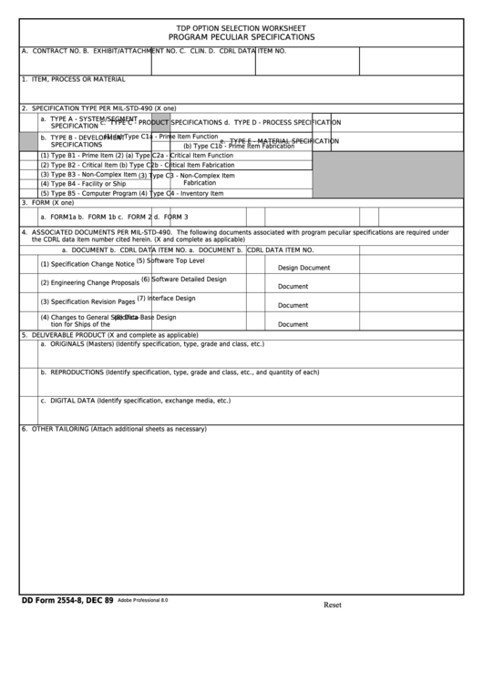 Fillable Dd Form 2554-8 - Tdp Option Selection Worksheet, Program Peculiar Specifications Printable pdf