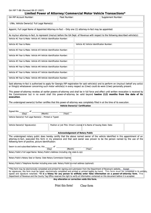 Fillable Form Ga Irp T-8b - Limited Power Of Attorney/commercial Motor Vehicle Transactions Printable pdf
