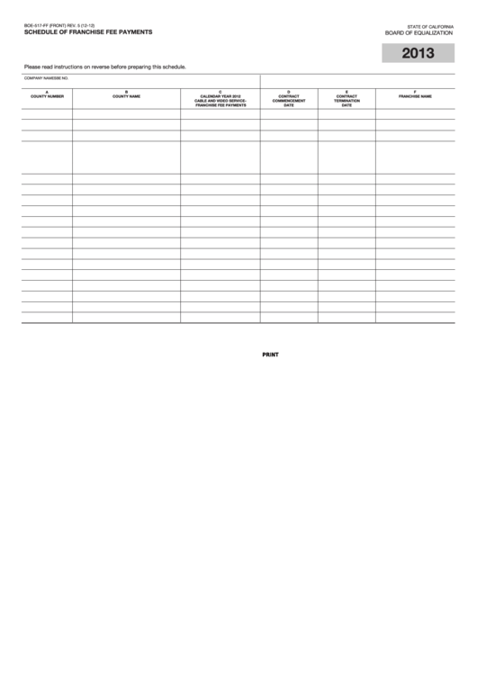 Fillable Form Boe-517-Ff - Schedule Of Franchise Fee Payments - 2013 Printable pdf