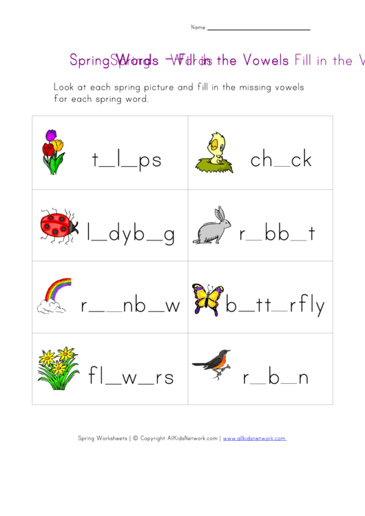Spring Words Fill In The Vowels Word Game Template