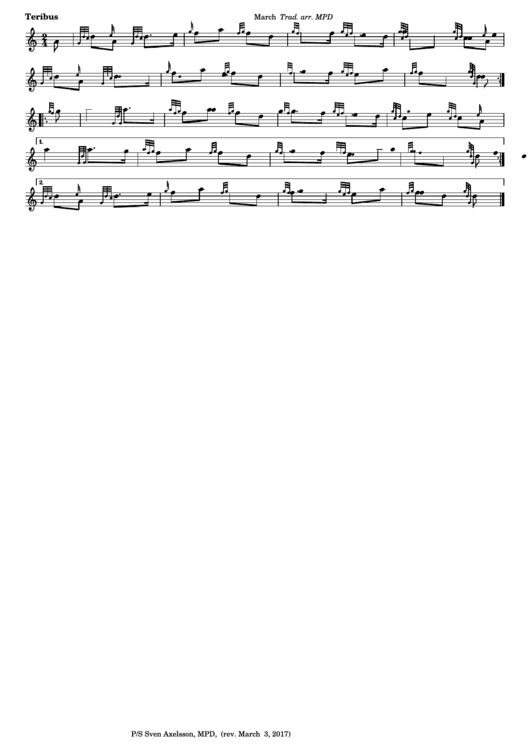 Teribus - March Sheet Music Printable pdf